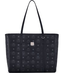 mcm medium toni visetos coated canvas east/west shopper - black