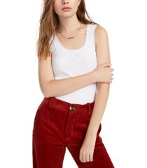 planet gold juniors' lace-trim ribbed tank top