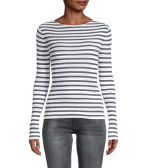 vince women's striped rib-knit pullover - optic white - size m