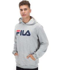 blusão de moletom com capuz fila letter new - masculino - cinza claro