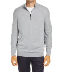 men's ted baker london lostit slim fit quarter zip sweater, size 3 - grey