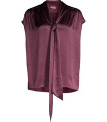 kate spade new york women's satin tieneck blouse - candied fig - size l