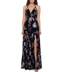 betsy & adam floral-print open-back gown