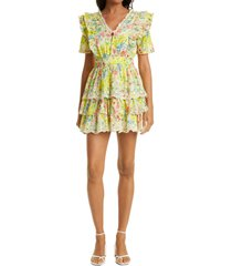women's loveshackfancy aldina ruffle dress, size x-large - yellow