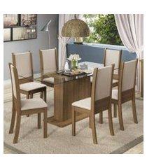 conjunto sala de jantar madesa modena mesa tampo de vidro com 6 cadeiras rustic/crema/sintético bege