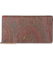 etro coated canvas clutch