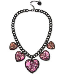 "betsey johnson black-tone crystal glitter heart statement necklace, 19"" + 3"" extender"
