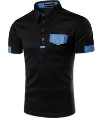 camiseta casual masculina de moda, camiseta de solapa empalmada de color puro sq20