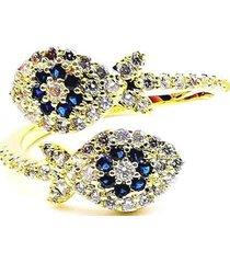 anillo micropave eyes cristal azul sara k
