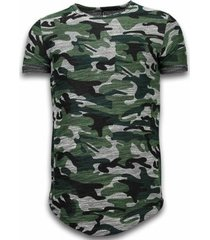 t-shirt korte mouw justing assorted camouflage t-shirt -long fit camo shirt chest pocket -
