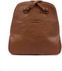 bolsa mochila brilho da pele feminina couro original marrom caramelo - m