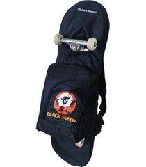 mochila skate bag black sheep preta - tricae