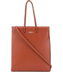 medea short leather tote bag - brown