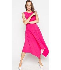 asymetryczna sukienka midi pink