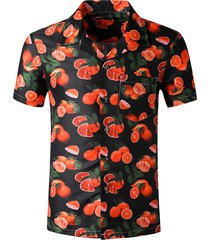 orange pattern pocket beach shirt