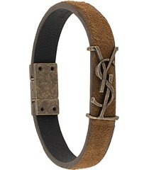 saint laurent monogram suede bracelet - brown