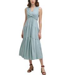 calvin klein tiered v-neck gauze maxi dress