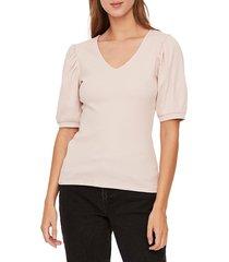 vero moda women's isla puff-sleeve stretch-cotton top - light grey - size xs