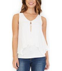 bcx juniors' split-back popover blouse with necklace