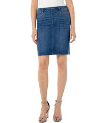 women's liverpool gia pull-on denim pencil skirt, size 14 - blue