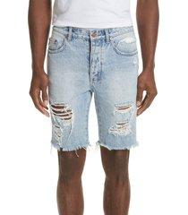 men's ksubi axel distressed cutoff denim shorts, size 33 - blue