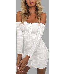 blanco con pliegues con cordones diseño fuera del hombro vestidos de manga larga
