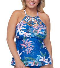 raisins curve trendy plus size summer bloom boa tankini top women's swimsuit