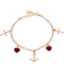bracciale in argento rosato con cuore rosso e croce pendenti per donna