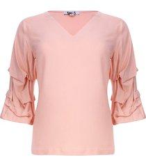 blusa escote v manga 3/4 color rosado, talla 6
