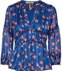 printed top with piping details blouse lange mouwen blauw scotch & soda