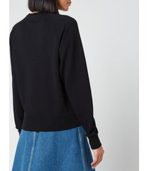 maison kitsuné women's sweatshirt handwriting - black - l