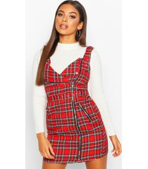 flannel biker detail pinny dress, red