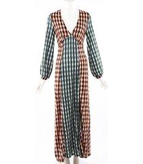rixo rixo phoebe retro print multicolor long dress multicolor/geometric sz: s