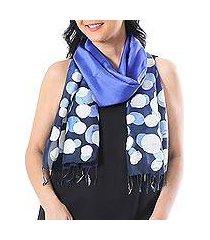 batik silk scarf, 'bubbles in lapis' (thailand)