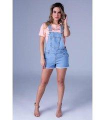 jardineira jeans equivoco mara feminino