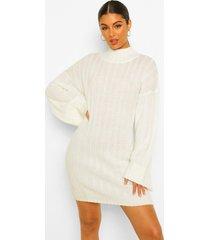 jumbo geribbelde maxi trui jurk met wijde mouwen, cream