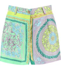 versace barocco mosaic print silk shorts