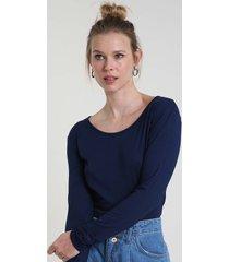 blusa feminina básica manga longa decote redondo azul escuro