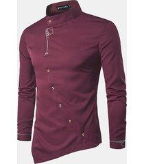 uomo casual camicia formale con personalità in ricamo con bordo obliquo bottoni irregolari a maniche lunghe
