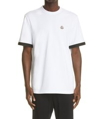 men's moncler logo patch taped sleeve cotton t-shirt, size small - white