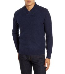 men's schott nyc waffle knit thermal wool blend pullover, size large - blue