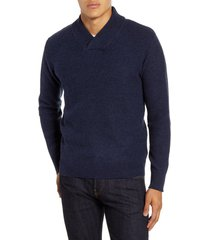 men's schott nyc waffle knit thermal wool blend pullover, size medium - blue