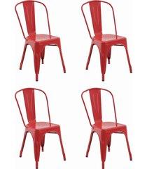 conjunto 04 cadeiras iron vermelha rivatti