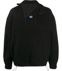 ader error zipped neck fleece sweatshirt - black