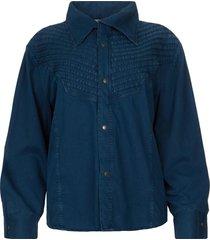denim blouse row  blauw