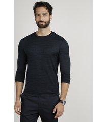 suéter masculino slim em tricô gola careca azul petróleo