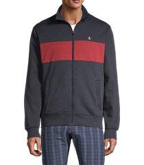 original penguin men's striped cotton-blend jacket - pomegranate - size xl
