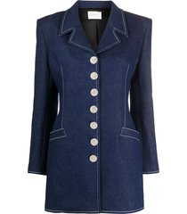 giuseppe di morabito crystal-embellished denim blazer - blue