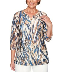 alfred dunner petite classics 2019 textured embellished top