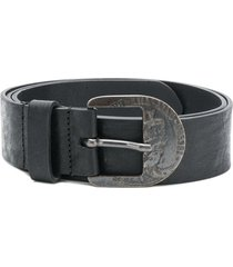 diesel engraved antique buckle belt - black